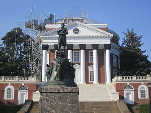 The Rotunda (University of Virginia) - Renovation underway on the Rotunda in 2011, with the Jefferson statue in the foreground