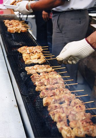 Yakitori - Yakitori being grilled