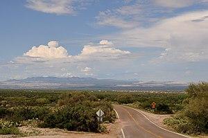 Corona de Tucson, Arizona - View of Sierrita Mountains and copper mines from Corona de Tucson