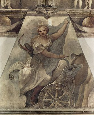 Camera di San Paolo - The fresco of Diana in the fireplace.