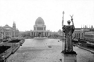 1893 in art -  May 1: World's Columbian Exposition (Chicago) with Romanesque statue of Columbia overlooking man-made lake.