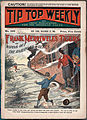 Cover illustration of Frank Merriwell's Tigers, or, Wiping out the Railroad Wolves, 1905 (exbt-DMLopen-2).jpg