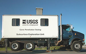 Cone penetration test - A CPT truck operated by the USGS.