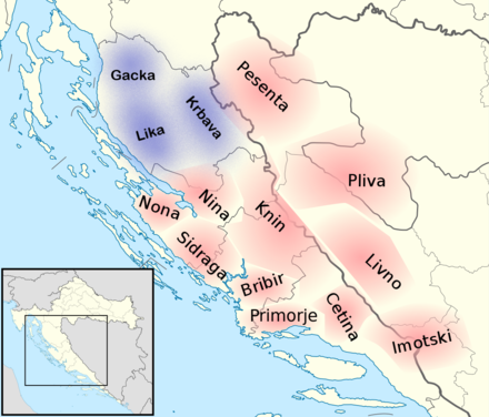 Approximate positions of the first counties of 10th century Croatia, overlaid on a map of modern Croatia and Bosnia-Herzegovina