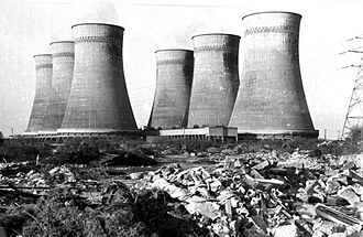 Croydon power stations - Croydon A power station's cooling towers in 1973
