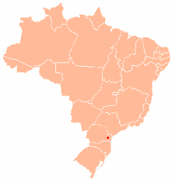Map of Brazil with the location of Curitiba in red