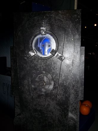 Closing Time (Doctor Who) - Cyberman in stasis as shown in the episode, on display at the Doctor Who Experience.