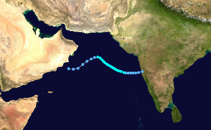 1995 North Indian Ocean cyclone season - Image: Cyclone 02A 1995 track