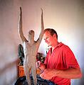 DC working on figure of Oberon-1999.jpg