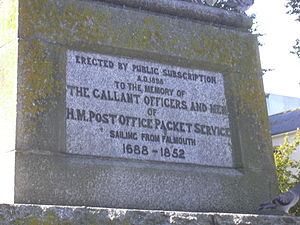 Post Office Packet Service - Inscription on Falmouth Packet Service memorial