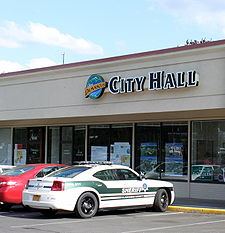 City Hall, in a strip mall