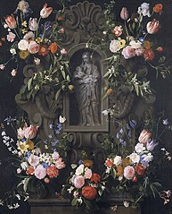 Garland of Flowers surrounding a Sculpture of the Virgin Mary