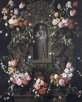 Thomas Willeboirts Bosschaert - Image: Daniel Seghers Garland with Virgin 1645 paid with gold maulstick 1646