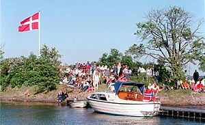Islet - Danes on the islet Danmark in Norway. It is a typical Nordic skerry.