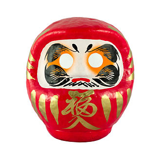 Daruma doll traditional Japanese doll modeled after Bodhidharma, the founder of the Zen sect of Buddhism