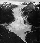 Davidson Glacier, valley glacier with icebergs in the lake, August 11, 1961 (GLACIERS 5217).jpg