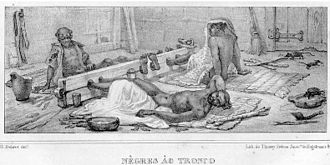 Stocks - Black slaves in stocks in Brazil circa 1830.