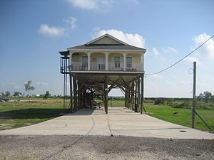 Delacroix Island, Louisiana - Image: Delacroix LA High House With Brackets