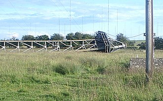 Rugby Radio Station - A radio mast after demolition