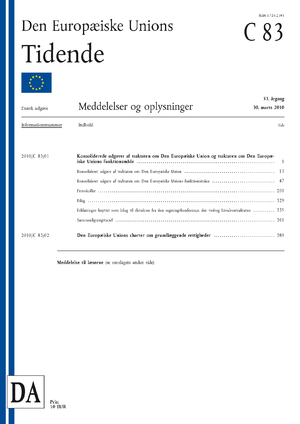 Official Journal of the European Union - Image: Den Europæiske Unions Tidende Serie C Eksempel