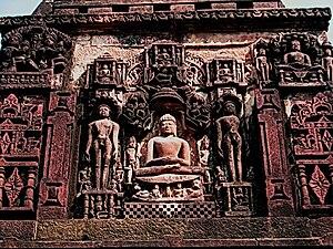 Deogarh, Uttar Pradesh - Pārśva and other tirthankaras from Jainism depicted on a panel in the Shantinath Temple.