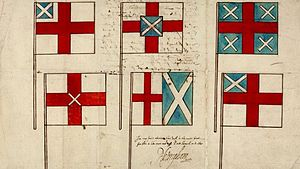 Jacobean debate on the Union - Proposed designs for a union flag, with the lower central one approved by Charles Howard, 1st Earl of Nottingham. About 1604.