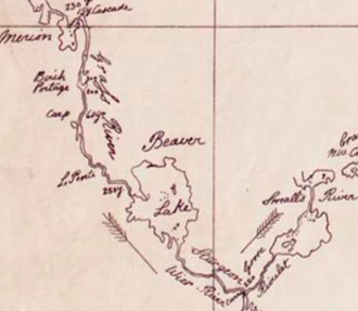 Sturgeon-Weir River - Detail of Thompson's 1814 map showing the Sturgeon Weir