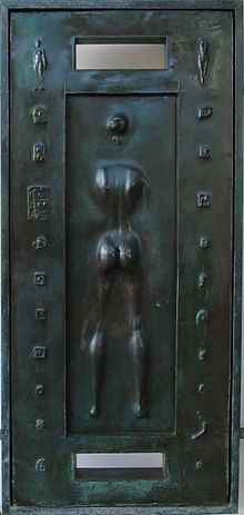 Detail of front doors of Spalding House by Robert Graham, cast bronze, 1988.jpg