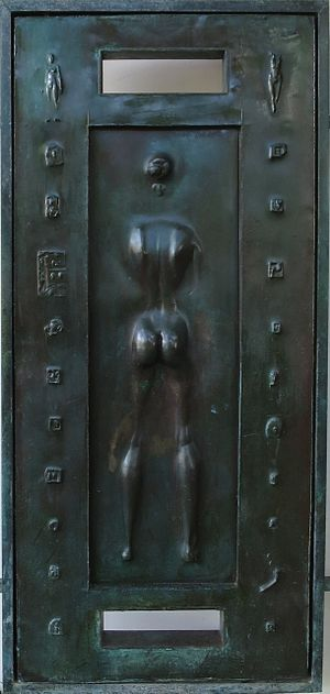 Robert Graham (sculptor) - Detail of front doors of Spalding House, the Honolulu Museum of Art, cast bronze, 1988