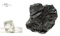 Image: Diamond and graphite, two allotropes of carbon