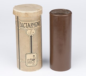 Timeline of audio formats - A Dictaphone cylinder for voice recording