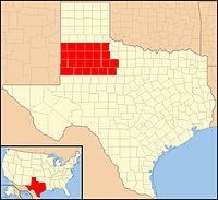 Map of Lubbock Diocese