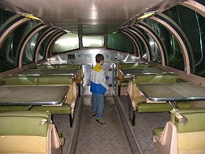 Dome car - The upper level interior of a dome car, configured as a dining area, on display at the National Railroad Museum in Green Bay, Wisconsin.