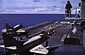 Douglas A-4C Skyhawks of VA-216 are launched from USS Hancock (CVA-19), in 1963.jpg