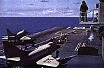 Douglas A-4C Skyhawks of VA-216 are launched from USS Hancock (CVA-19), in 1963.jpg