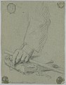 Drawing, Study- the left hand of a young man holding a stick and resting on a book, late 18th century (CH 18118585).jpg