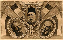 Kaiser Wilhelm II, Mehmed V, Franz Joseph: The three emperors of the Central Powers.