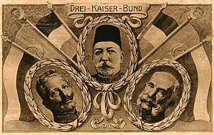 Germany–Turkey relations - The three emperors of the Central Powers during World War I: Wilhelm II, Mehmed V, Franz Joseph. All three empires (German, Turkish, Austrian) came to an end in the aftermath of the war.