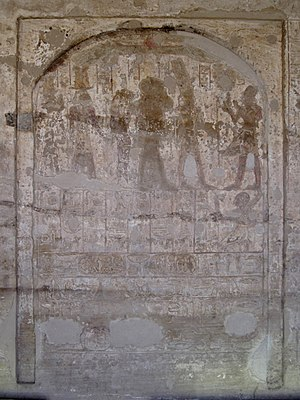 Khay (vizier) - Rock cut stela in the rock cut temple of Horemhab at Gebel el-Silsila. Khay is shown in the second register on the right
