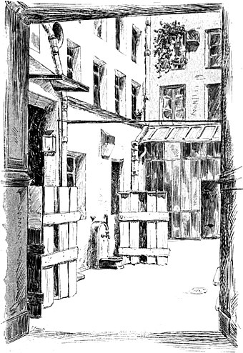 Courtyard of the house of Maurice Duplay, Robespierre's landlord. Robespierre's room was on the second floor, above the fountain. DuplayHouseCourtyard.jpg