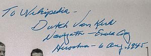 Theodore Van Kirk - Image: Dutch Van Kirk signature 2010 08 21
