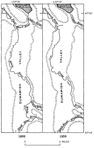 White River (Washington) - Maps showing the changes of course and nomenclature of rivers in the Duwamish Valley, 1899-1959.