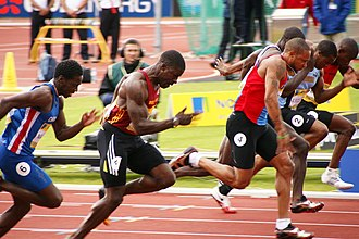 Dwain Chambers - Chambers (second from left), competing in the 2008 Olympic Trials, Birmingham