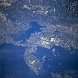 Battle of Preveza - A satellite view of Lefkada and the Gulf of Arta. Preveza is located at the entrance of the Gulf.