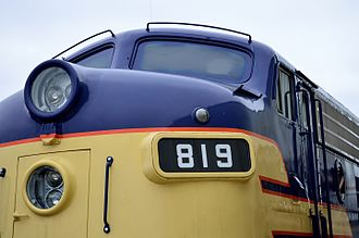 Mars Light - A Mars Light is mounted in the lower lamp housing on this EMD F7 diesel locomotive. More detail can be seen at high resolution.