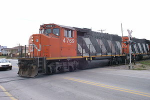 EMD GP38-2 - Canadian National 4769, a GMD GP38-2, with CN-spec comfort cab, St Félicien, Québec, Canada