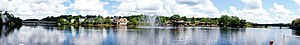 Bridgewater, Nova Scotia - A view from the east bank of the LaHave River midway between the two bridges.