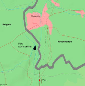 Map showing location of Maastricht in relation to the Belgian border