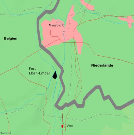 Map of the area between Belgium and the Netherlands near Fort Eben-Emael: The fort protected the vital strategic bridgeheads into Belgium Eben-Emael.png