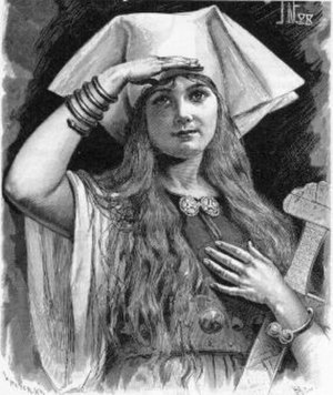 Svanhildr - Svanhildr as illustrated in Fredrik Sander's 1893 Swedish edition of the Poetic Edda.